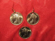 Gold Tone Coin Pendant Earrings Set Queen Of The Nile Egypt Egyptian Cleopatra