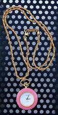 Colibri Pocket Watch Women's Necklace Napier Gold Rope Chain Swiss Made Quartz