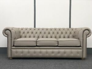Chesterfield 3str Sofa In Pale Grey Genuine Leather(Brand New)