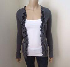Abercrombie Womens Ruffle Cascade Cardigan Size XS Sweater Dark Gray