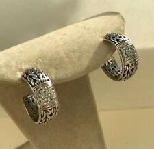 ESTATE JOHN HARDY STERLING SILVER 18K WHITE GOLD DIAMOND HOOP EARRINGS
