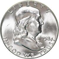 1958 Franklin Half Dollar 90% Silver BU US Coin