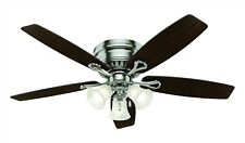 """Hunter 52"""" Low Profile Ceiling Fan with Light and LED Bulbs in Brushed Nickel"""