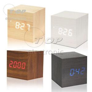 Wood Cube Clock LED Alarm Voice Control Digital Desk Bedside Wooden Temperature