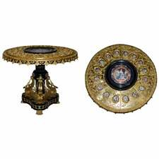 NAPOLEON III LOUIS XVI STYLE GILT BRONZE & PORCELAIN PLAQUE SEVRES CENTRE TABLE