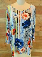 New~$48~RUBY ROAD WOMAN 2X Plus Blue & Orange-Floral 3/4-Sleeve Rayon+ Top Shirt