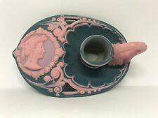 Schafer & Vater Blue & Pink Jasperware Art Nouveau Finger Candlestick Holder