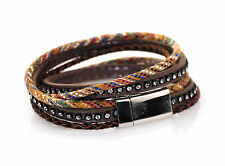 2 Wrap 3 Strand Mixed Material with Leather and Diamantes Bracelet 16inch Uk
