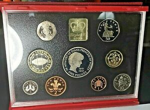 1999 UK DELUXE PROOF SET Princess Diana - RUGBY 9-Coin Set COA & Book .99c START