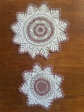 Vintage Hand Crocheted Brown And Ecru Doily Set Crochet Dressing Table