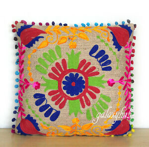 """New 16"""" Pillow Cover 24"""" Square Jute Embroidery Cushion Cover 18"""" Pillowcase D6"""