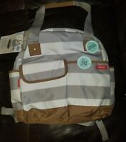Baby Diaper Bag Backpack Organizer Travel Grey White Striped Brown Polyester