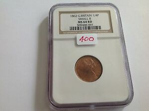 1862 Great Britain Farthing Small 8 NGC MS 64 Red