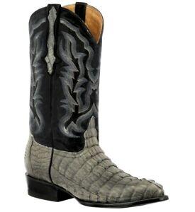 Mens Gray Western Boots Crocodile Tail Skin Genuine Leather Cowboy J Toe