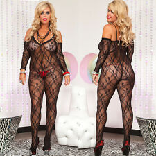 Plus Size Lingerie One Size Queen Black Stretch Lace Bodystocking ML1275Q