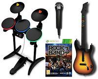 XBox 360 ROCK BAND 3 Game w/Guitar Hero Wireless Drums/Mic Bundle Set kit Xmas