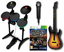 XBox 360 ROCK BAND 3 Game w/Guitar Hero Wireless Drums/Mic Bundle Set kit Xmas