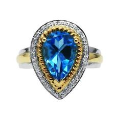 14K WHITE YELLOW TWO TONE GOLD DIAMOND BLUE TOPAZ COCKTAIL ENGAGEMENT RING
