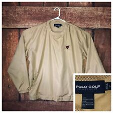 Polo Golf Ralph Lauren Windbreaker Pullover Size Large Jacket Tan Neck Zip Light