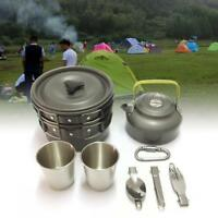 9Pcs Camping Hiking Cookware Cooking Picnic Bowl Pot Pan Set for Outdoor Travel