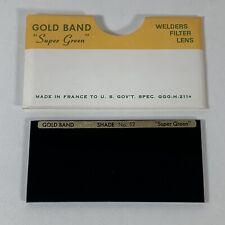 Nos Vintage Gold Band Super Green Welders Welding Lens No 12 Made In France