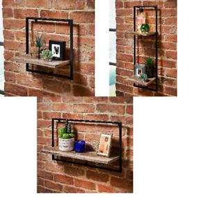 Decorative Black Metal Frame MDF Wooden Wall Floating Shelf/Shelves Home/Office
