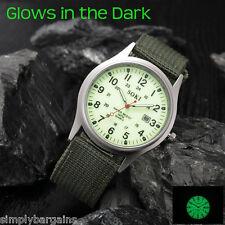 Men's Military Calendar Quartz Luminous Green Watch Military Green Nylon Strap