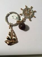 NWT Brighton WindStar Nautical Gold Plated Key FOB Chain Ring #124A