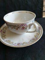 Vintage USSR RPR PFF Riga porcelain tea pair cup saucer plate white