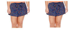JUNIOR'S ARIZONA LOW RISE WRAP SHORTS NAVY FLORAL SIZE MED NEW WITH TAGS $30