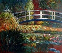 Claude Monet Bridge over Water Lily Pond Repro Hand Painted Oil Painting 20x24in