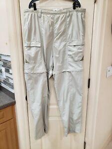 Columbia Men's Large PFG Tan Poly Convertible Cargo Pants Shorts Fishing SPF 30