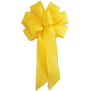 """Large 9-10"""" Handmade Bright Yellow Wreath Wired Bow Bows Spring Swag Easter"""