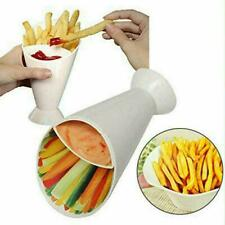Dipper Fry Snack Cone Stand French Fries Sauce Ketchup Holder Container O4B2