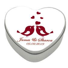 Personalised Love Birds Heart Shaped Metal Storage Tin Box | Anniversary wedding