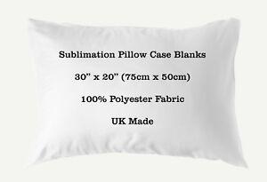 "Sublimation Pillow Case Blank 100% Polyester 30"" x 20"" 75cm x 50cm Heat Transfer"