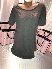 "Victorias Secret Cotton Sleep Shirt Nightie ""Good Morning Angels""  Gray Small"