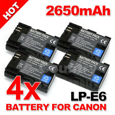 4 Pack 2650mAh LP-E6 Battery for Canon EOS 5D Mark III II 6D 60D 7D Mark II 70D