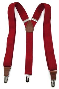 $75 Club Room New Men'S Solid Red Stretch Braces Clip-End Adjustable Suspenders