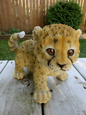 Baby Cheetah Playing Figurine Statue Resin New Jungle Animal