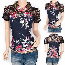 Unbranded Semi Fitted Cotton Blend Short Sleeve Women's Tops & Shirts