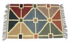 Handwoven Floor Kilim Rug Jute Area Rug Hand loomed Rustic Rugs Indian Art 2x3-1