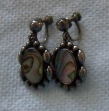 Vintage Mexico 925 Sterling Silver Abalone screw-back Drop Earrings signed