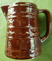 "STONEWARE 6"" PITCHER Vintage 50's Glazed Brown Daisy dot RUSTIC FARMHOUSE"
