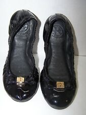 "Tory Burch Black Patent Leather ""Eddie"" Ballet Slippers Bow Logo Button 5.5"