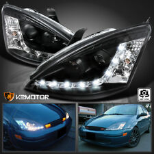 Black 2000 2004 Ford Focus Led Strip Projector Headlights Left Right Fits