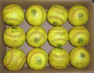 LOT OF '1 DOZEN 375/44 CORE TRUMP YELLOW USA Softballs -Used in game play!