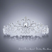 Bridal Princess Crystal Tiara Wedding Crown Veil Hair Accessory Silver+Two Combs
