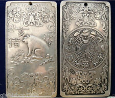"Old tibetan silver tibet Nepal statue Chinese zodiac ""pig""amulet thangka"