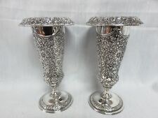 "Jennings Brothers Silverplate Trumpet Vases 7"" Repousse"